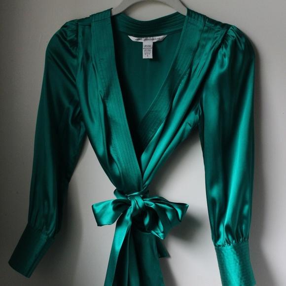 db0f98651136 Diane Von Furstenberg Tops - Diane Von Furstenberg Emerald Green Ariana  Blouse